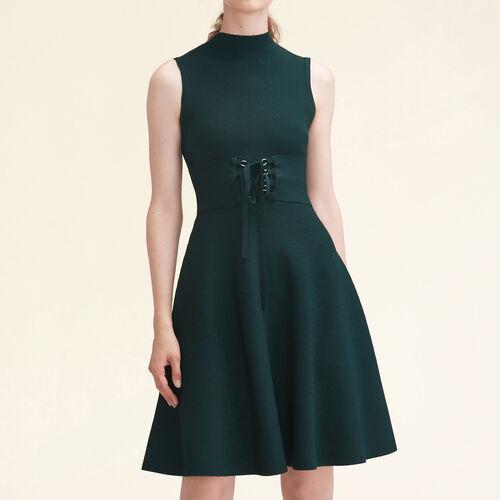 Vestido sin mangas anudado punto stretch : Vestidos color VERT
