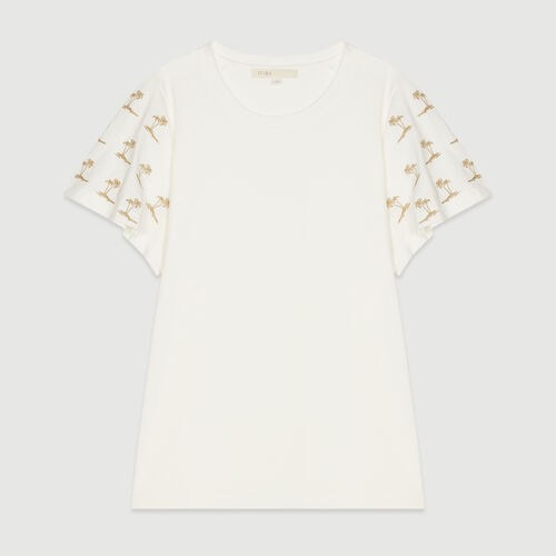 Camiseta bordada sin mangas : T-Shirts color Blanco