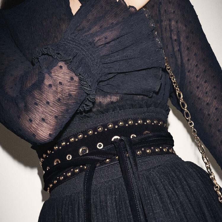 Cinturón ancho para anudar con ojales : Accesorios color Negro
