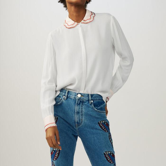 Blusa con detalles de perlas : Camisas color Crudo