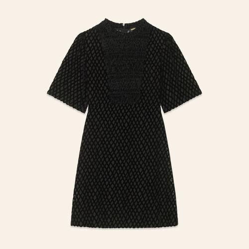 Vestido corto con plastrón : Vestidos color Negro