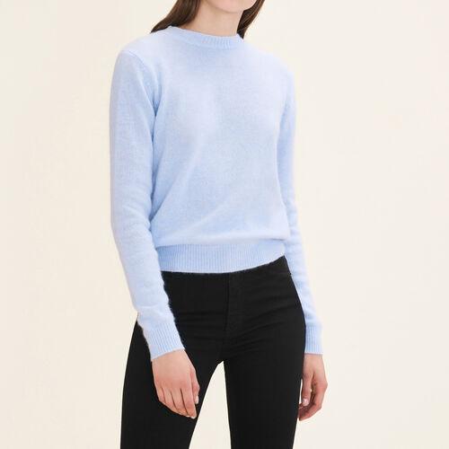 Jersey de angora con espalda descubierta : Jerseys y cárdigans color Azul Celeste