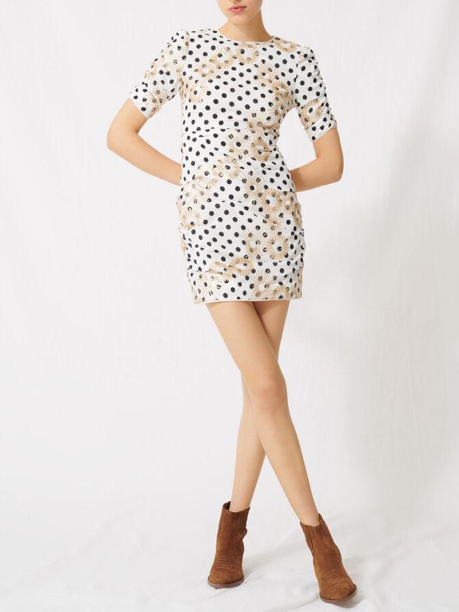 Vestido de topos y lentejuelas bordadas - Vestidos - MAJE