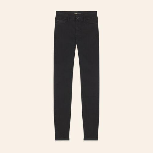 Vaquero ajustado de algodón : Pantalones y vaqueros color Negro