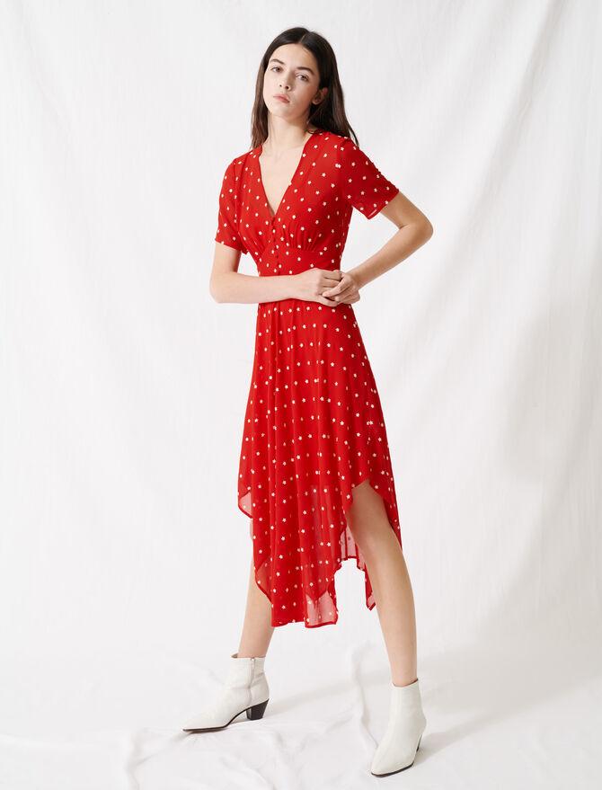 Vestido largo de gasa bordada - Vestidos - MAJE
