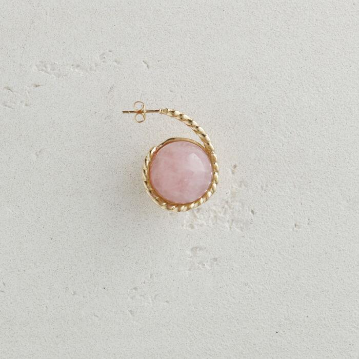 Pendiente derecho en piedra natural : Bisuteria color Rosa Claro