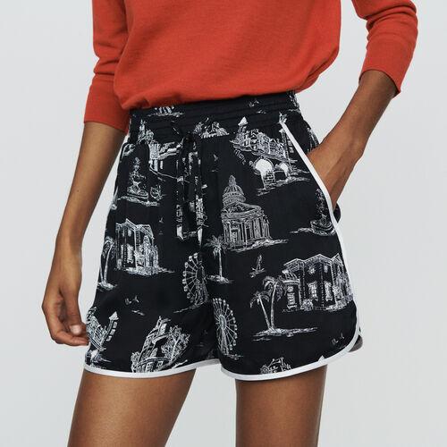 Short estampado Paris : Faldas y shorts color NEGRO