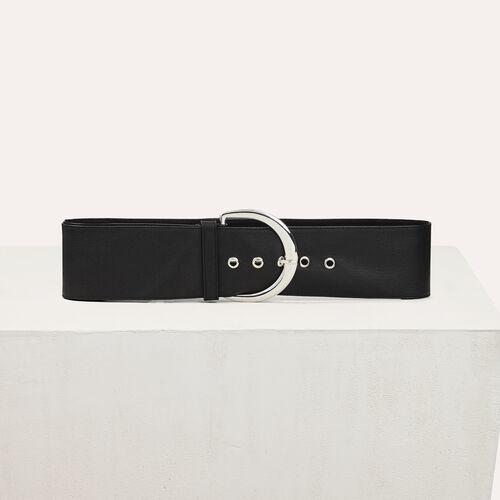Cinturón extragrande de piel de becerro : Accesorios color Negro