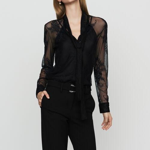 Camisa de encaje con corbata : Camisas color Negro