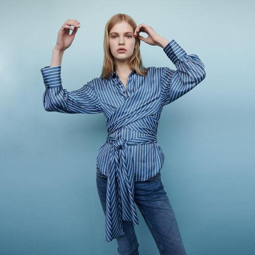 Blusa envolvente con rayas : Camisas color Rayas