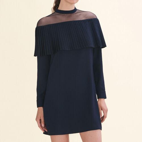 Vestido de crepé con volante plisado : Vestidos color Azul Marino