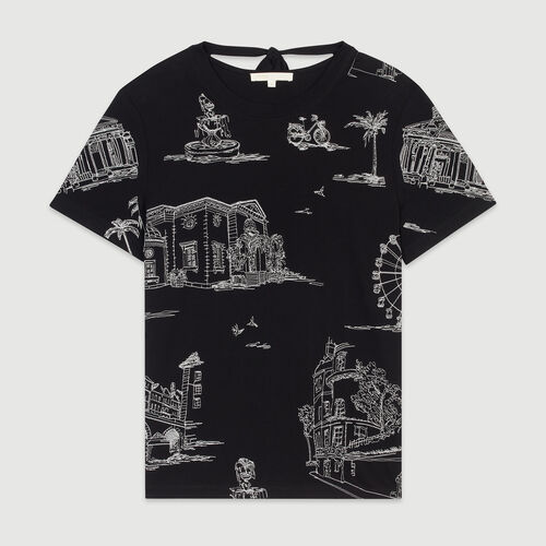 Camiseta bordada Paris all-over : T-Shirts color NEGRO