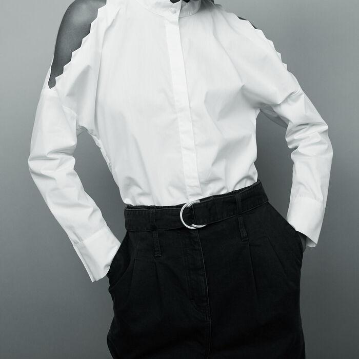 Camisa de algodón hombros descubiertos : Camisas color Blanco