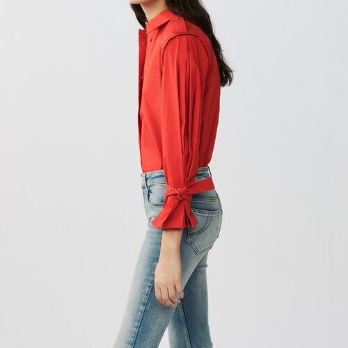 Camisa con bajo de las mangas anudado : Camisas color Rojo