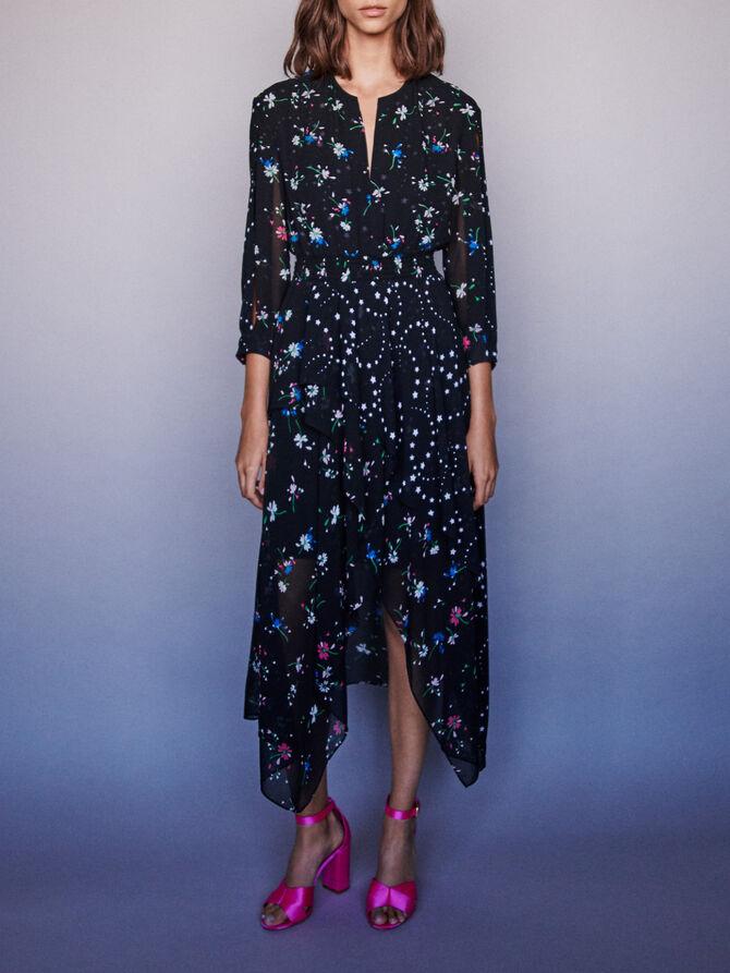 Vestido pañuelo con mezcla estampados - Vestidos - MAJE