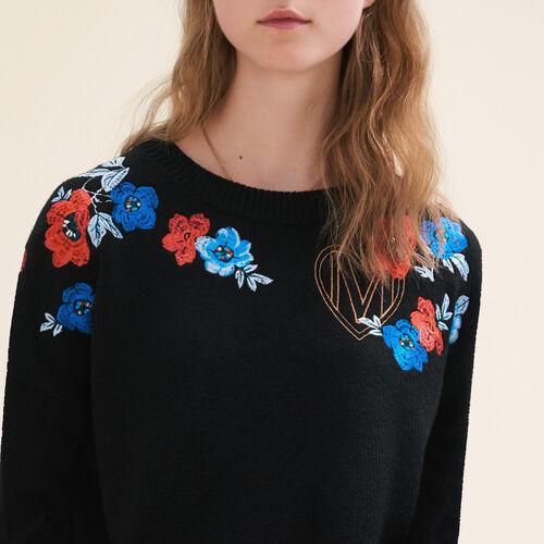 Jersey fino de punto con bordados : Jerseys y cárdigans color Negro