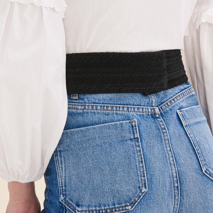 Cinturónancho de ante para anudar : Cinturones color Negro