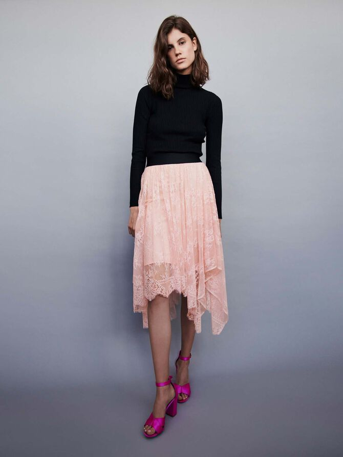 Falda elástica asimétrica con encaje - Faldas y shorts - MAJE