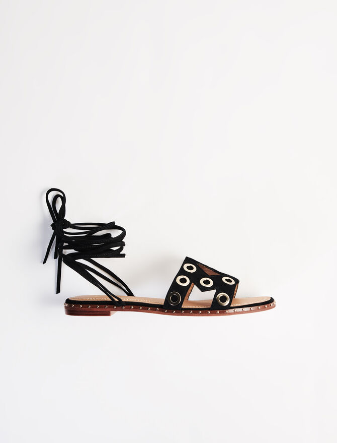 Sandalias anudadas de ante con ojales - Ver todo - MAJE
