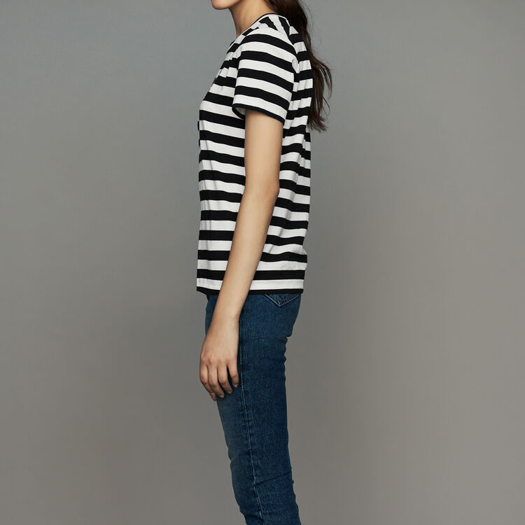 Camiseta de algodón rayada con escudo : Prêt-à-porter color Rayas