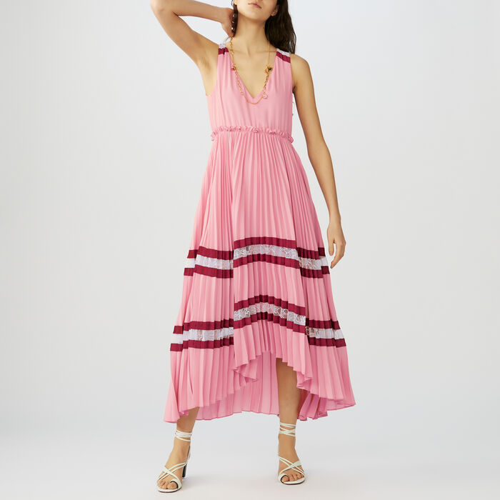 Vestido largo plisado de crepé y encaje : Vestidos color Multicolor