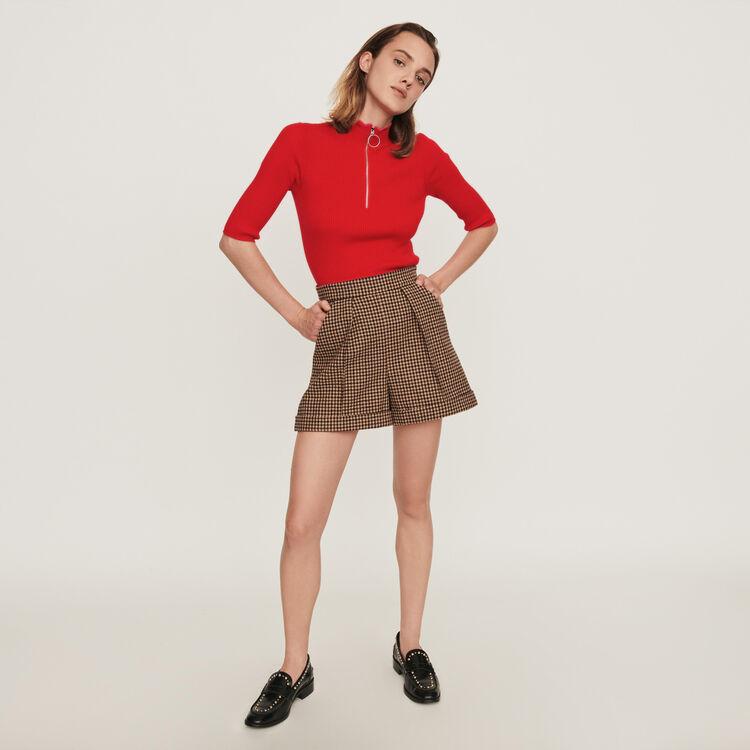 Jersey cuello alto fantasía y cremallera : Jerseys y cárdigans color Rojo