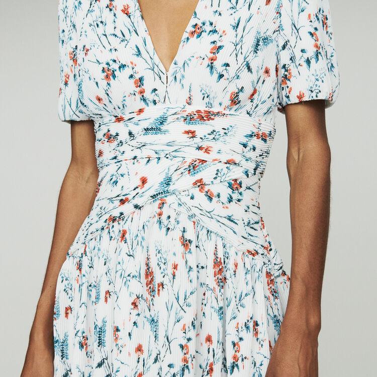 Vestido corto estampado con plisado joya : Vestidos color IMPRIME