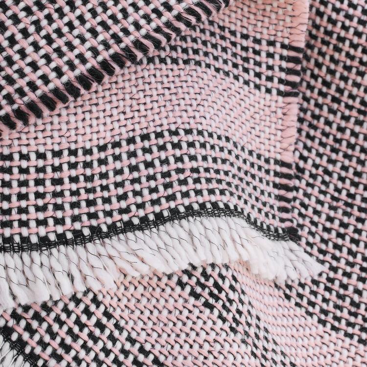 Poncho de punto de fantasía bicolor : Accesorios color Rosa