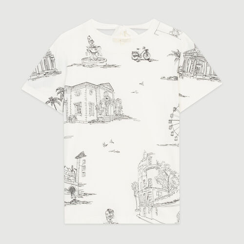 Camiseta bordada Paris all-over : T-Shirts color Ecru