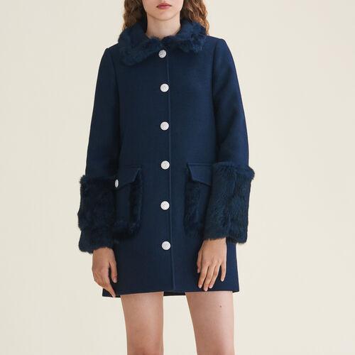 Abrigo recto mezcla de lana y cachemira : Abrigos color Azul