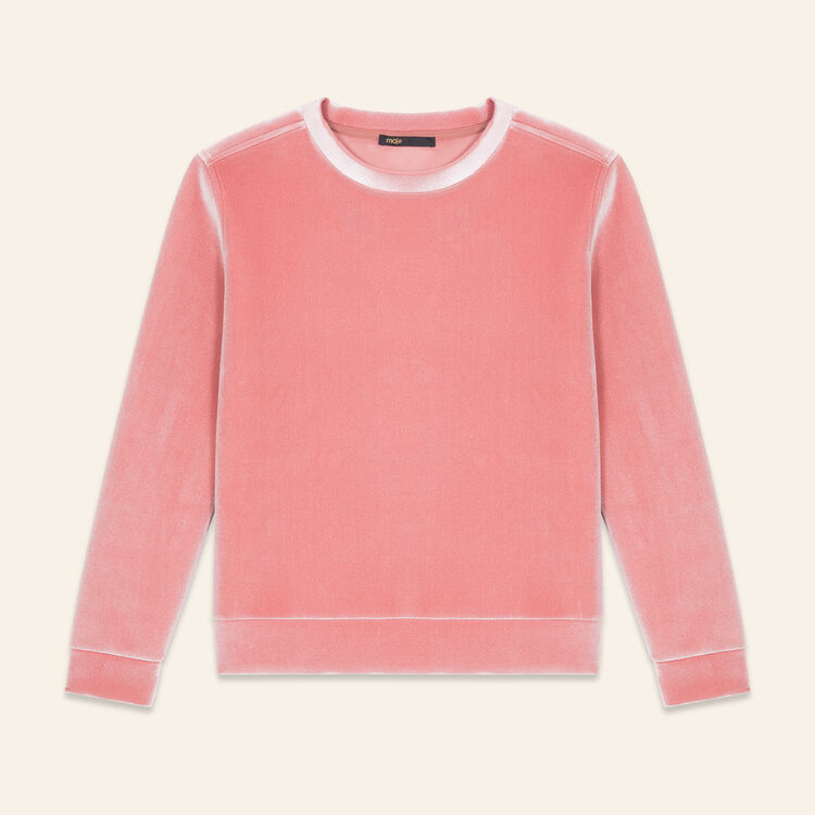 Sudadera recta de terciopelo : null color Rosa