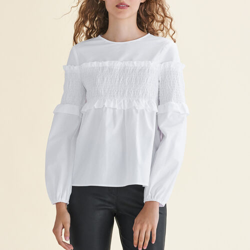 Top de algodón con fruncidos : Tops color Blanco