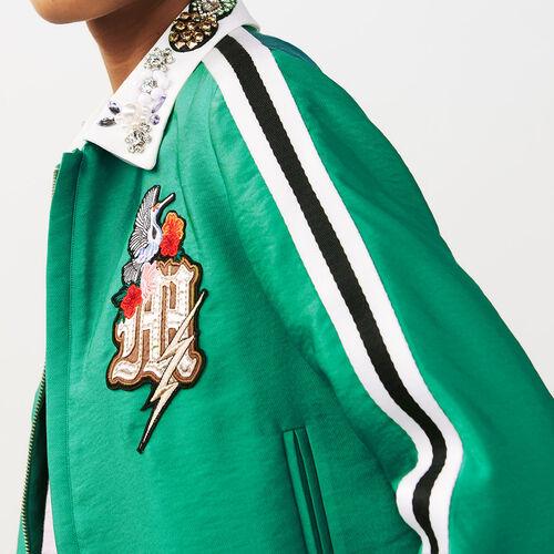 Chaqueta corta con cuello bisutería : Abrigos & Cazadoras color Verde