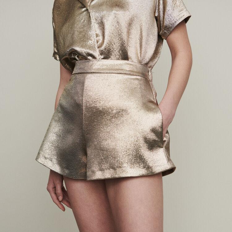 Short de seda mezclada : Faldas y shorts color Dorado