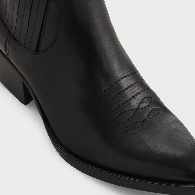 Bottines en cuir à découpes western : Botínes color Negro