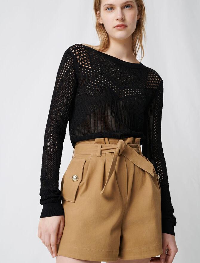 Short camel de algodón con cinturón - Faldas y shorts - MAJE
