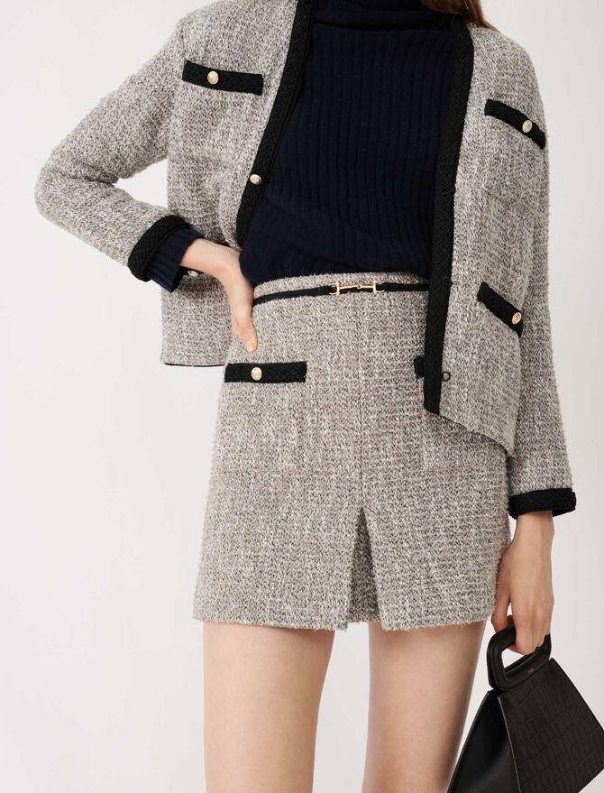 Falda tipo tweed de algodón reciclado - Faldas y shorts - MAJE