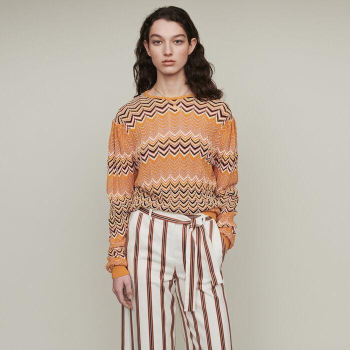 Jersey de punto zigzag : Jerseys y cárdigans color Naranja