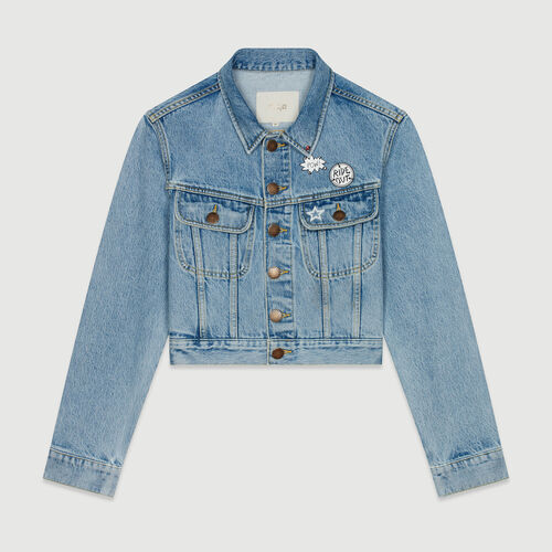 Chaqueta corta en denim con pins : Chaquetas color Denim
