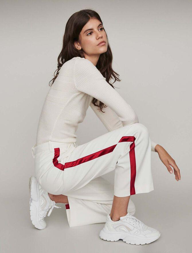 Pantalón ancho con bandas a contraste -  - MAJE