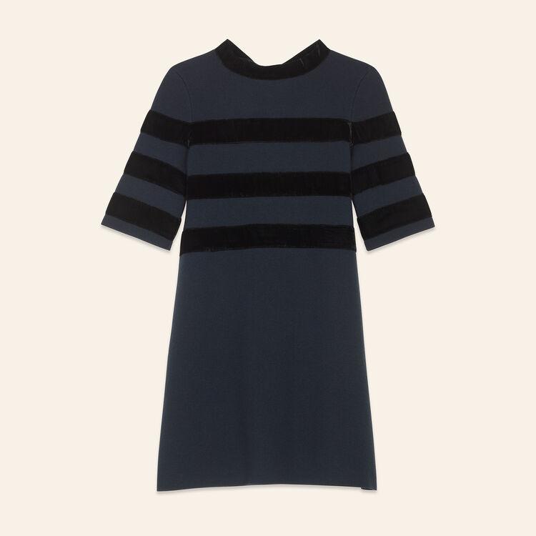 Vestido corto de punto cerrado : Vestidos color Azul Marino