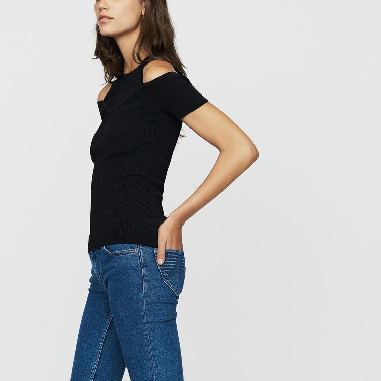 Camiseta de punto con hombros : Nueva Colección color Negro