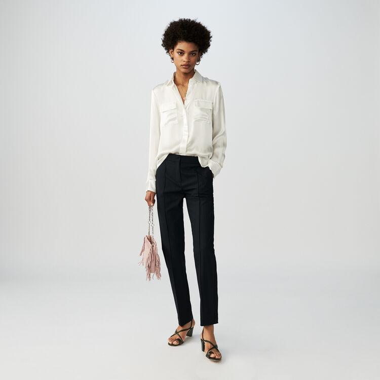 Blusa en raso de seda : Campaña FW19 color Blanco
