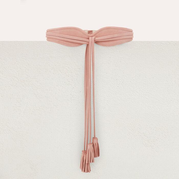 Cinturón tiro alto de gamuza : Cinturones color Rosa Claro