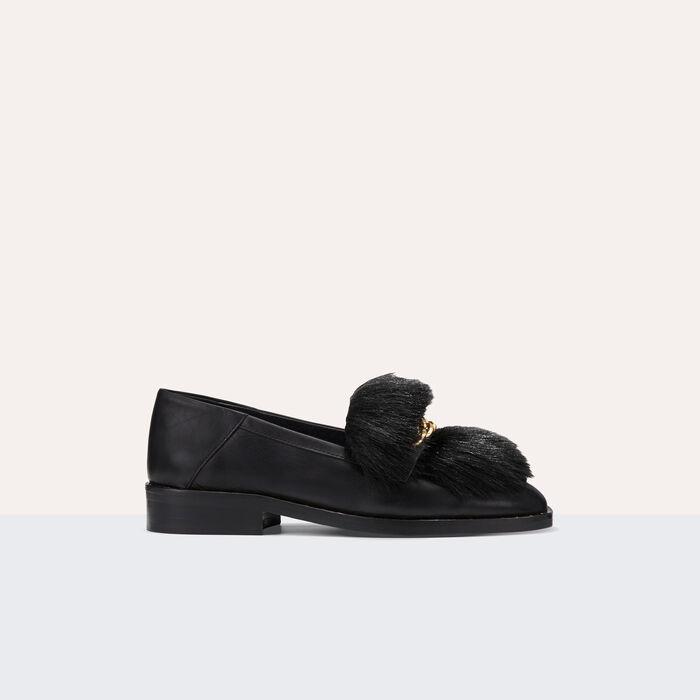 Mocasín de piel con pelo desmontable - Zapatos - MAJE
