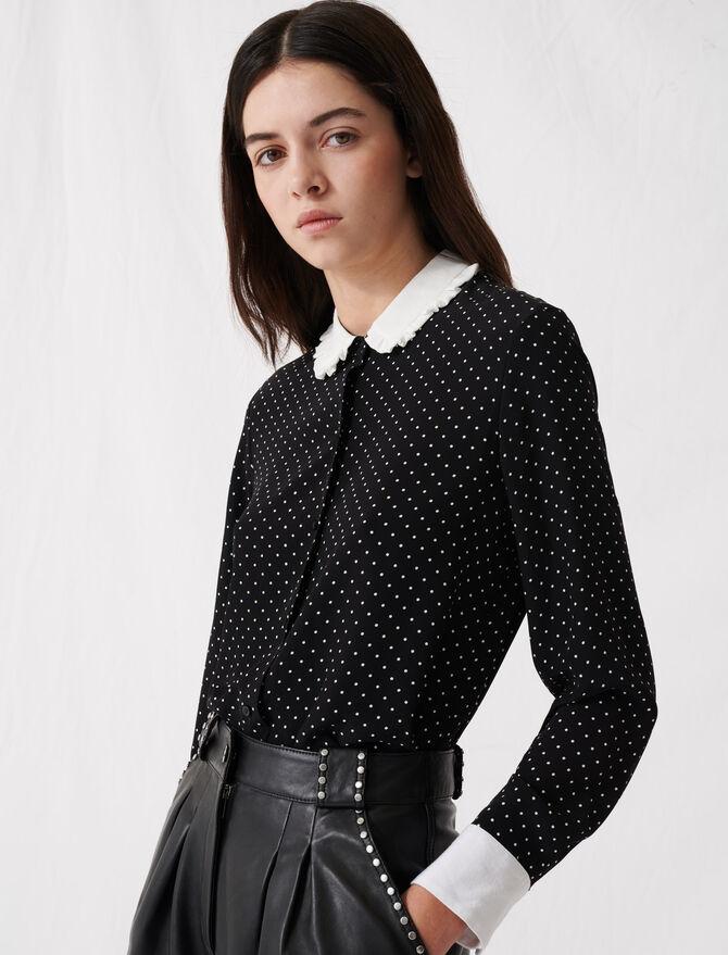 Camisa de topos con cuello en contraste - Tops y Camisas - MAJE