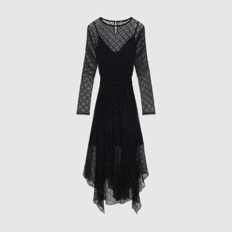 Vestido de tul plumetis : Vestidos color Negro