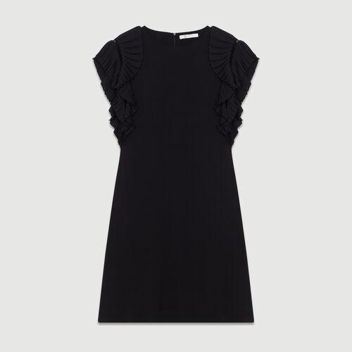 Vestido recto con mangas plisadas : Vestidos color Negro