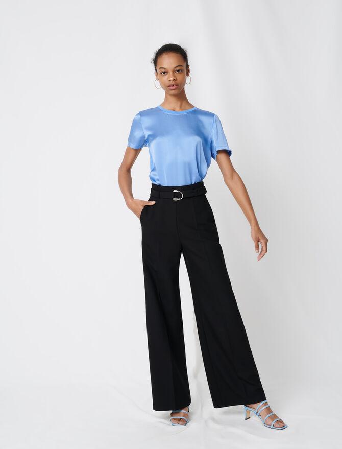 Pantalon large avec ceinture - Pantalones y Jeans - MAJE