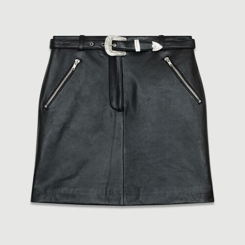 Falda corta de cuero : Piel color Negro